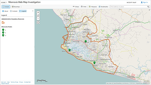 ArcGIS Online map showing the locations of the three possible clinic locations.