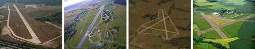 Four images of different airfields