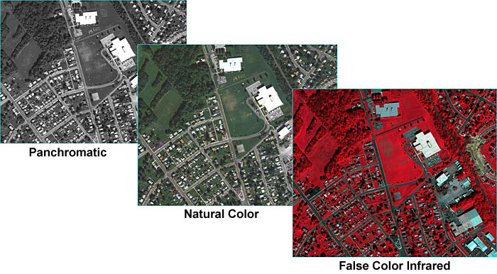 Three aerial photographs in grayscale (also called panchromatic), true color (RBG), and false-color infrared (CIR)