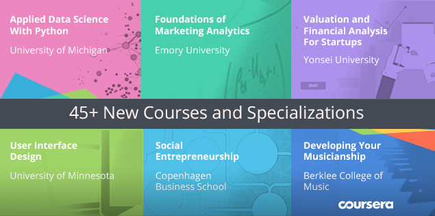 45+ New Courses and Specializations Launching on Coursera
