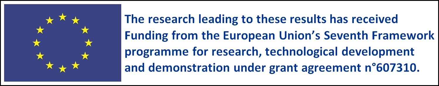 EU logo and statement. The research leading to these results has received funding from the European Union's Seventh Framework programme for research, technological development and demonstration under grant agreement n*607310